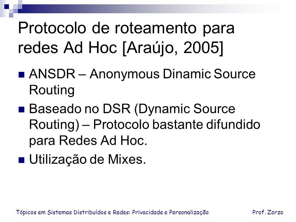 Protocolo de roteamento para redes Ad Hoc [Araújo, 2005]